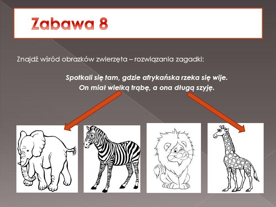 Znajdź wśród obrazków zwierzęta – rozwiązania zagadki: Spotkali się tam, gdzie afrykańska rzeka się wije. On miał wielką trąbę, a ona długą szyję.