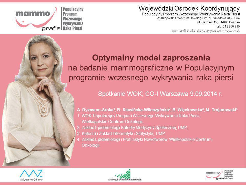 Optymalny model zaproszenia na badanie mammograficzne w Populacyjnym programie wczesnego wykrywania raka piersi Spotkanie WOK; CO-I Warszawa 9.09.2014