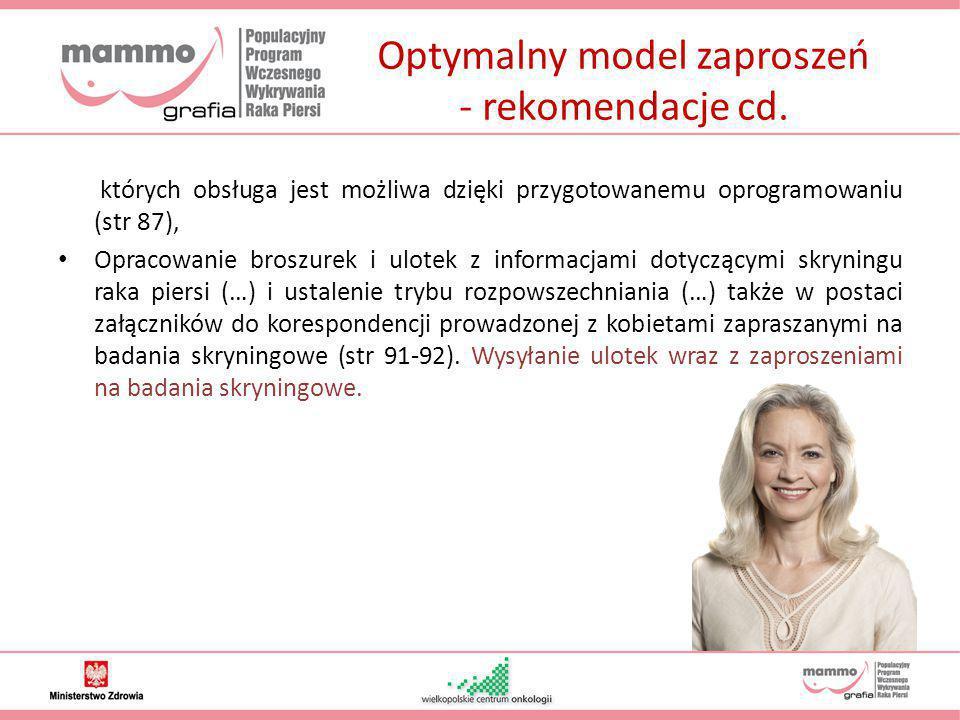 Optymalny model zaproszeń - rekomendacje cd. których obsługa jest możliwa dzięki przygotowanemu oprogramowaniu (str 87), Opracowanie broszurek i ulote