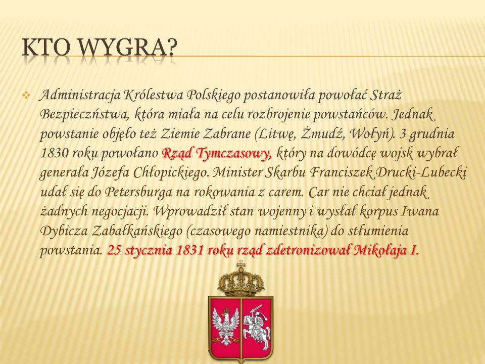 Rząd Tymczasowy, 25 stycznia 1831 roku rząd zdetronizował Mikołaja I.  Administracja Królestwa Polskiego postanowiła powołać Straż Bezpieczństwa, któ