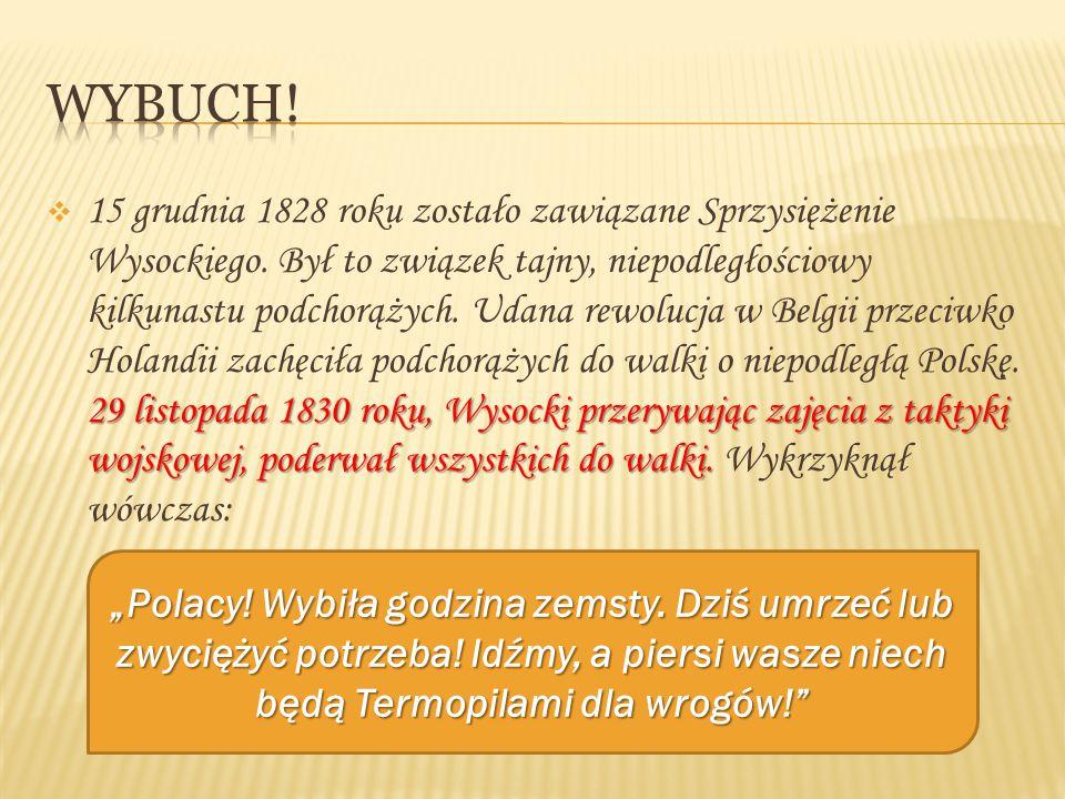  Wysocki zwołał podchorążych pod pomnik Jana III Sobieskiego na moście w Łazienkach, a potem ruszył z nimi na Belweder.