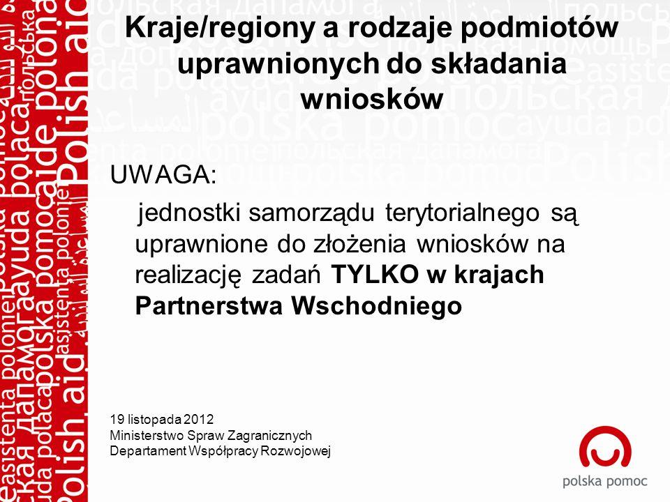 Kraje/regiony a rodzaje podmiotów uprawnionych do składania wniosków UWAGA: jednostki samorządu terytorialnego są uprawnione do złożenia wniosków na realizację zadań TYLKO w krajach Partnerstwa Wschodniego 19 listopada 2012 Ministerstwo Spraw Zagranicznych Departament Współpracy Rozwojowej