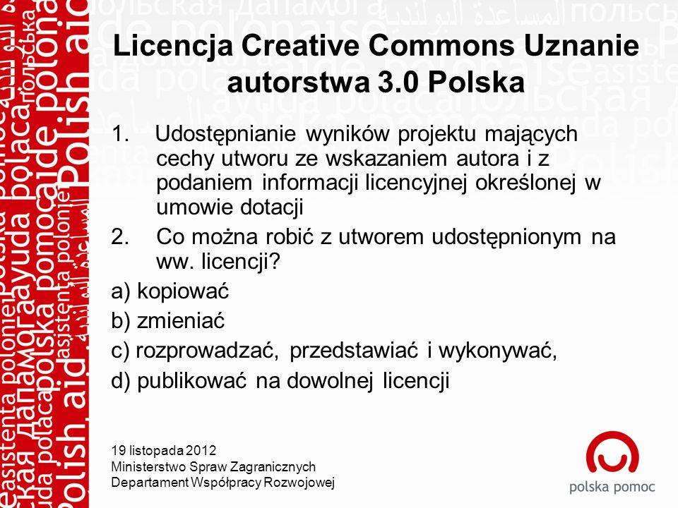 Licencja Creative Commons Uznanie autorstwa 3.0 Polska 1.