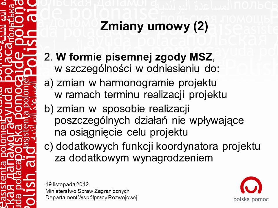 Zmiany umowy (2) 2.