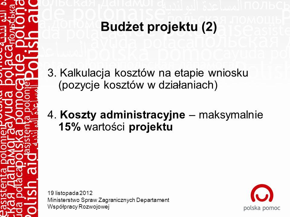 Budżet projektu (2) 3. Kalkulacja kosztów na etapie wniosku (pozycje kosztów w działaniach) 4.