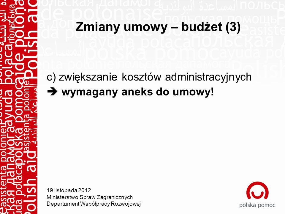 Zmiany umowy – budżet (3) c) zwiększanie kosztów administracyjnych  wymagany aneks do umowy.