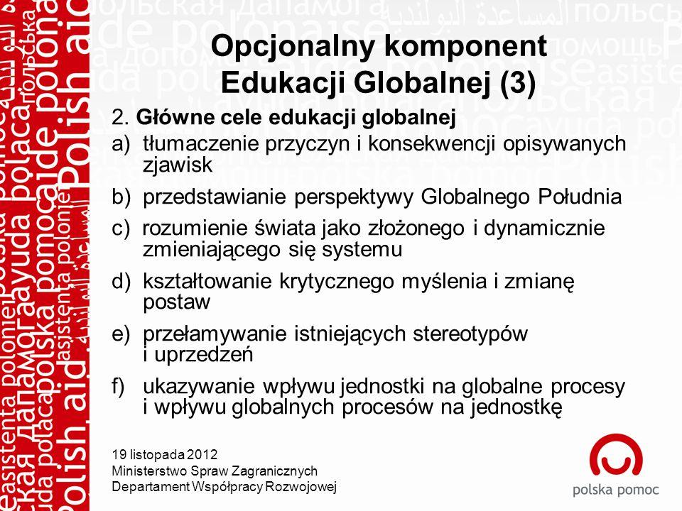 Opcjonalny komponent Edukacji Globalnej (3) 2.