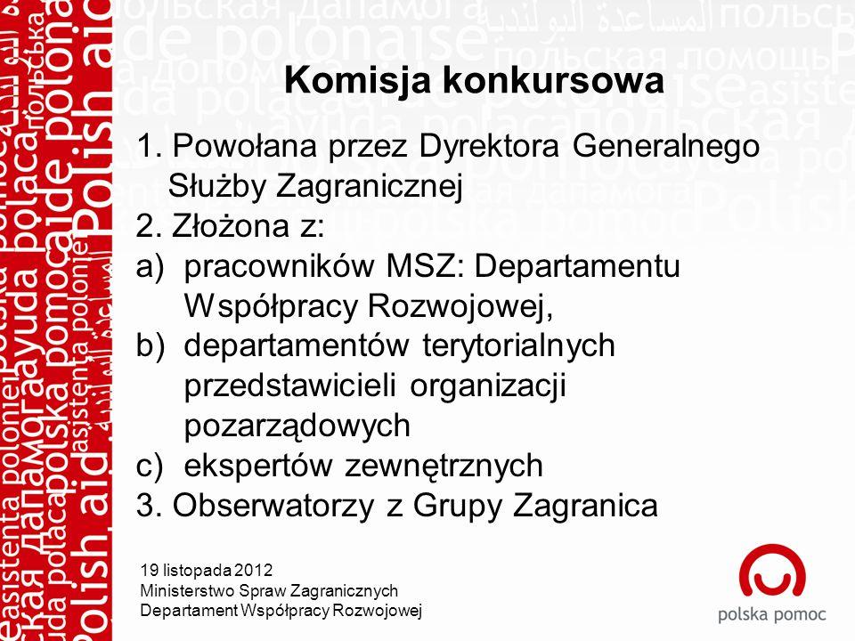 Komisja konkursowa 1. Powołana przez Dyrektora Generalnego Służby Zagranicznej 2.