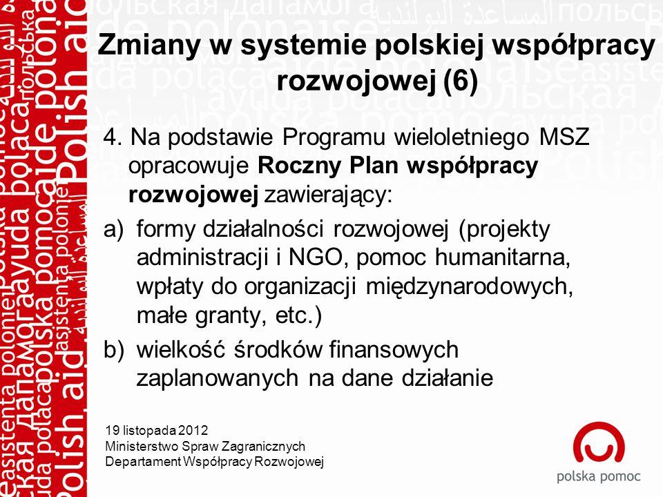 Zmiany w systemie polskiej współpracy rozwojowej (6) 4.