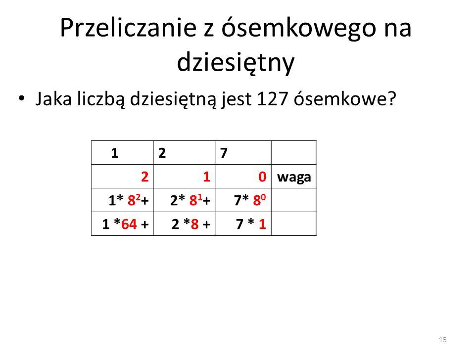 127 210waga 1* 8 2 +2* 8 1 +7* 8 0 1 *64 +2 *8 +7 * 1 Jaka liczbą dziesiętną jest 127 ósemkowe? Przeliczanie z ósemkowego na dziesiętny 15
