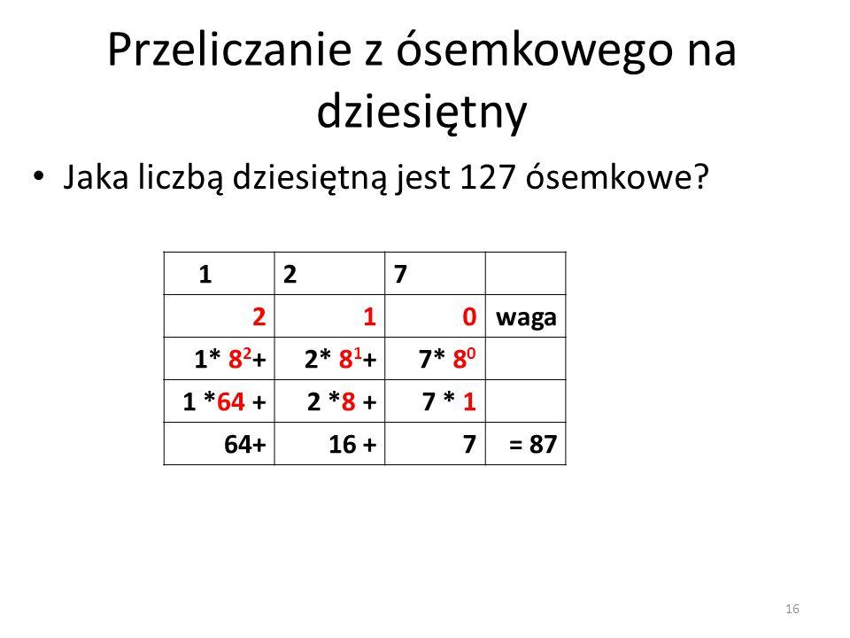 127 210waga 1* 8 2 +2* 8 1 +7* 8 0 1 *64 +2 *8 +7 * 1 64+16 +7= 87 Jaka liczbą dziesiętną jest 127 ósemkowe? Przeliczanie z ósemkowego na dziesiętny 1