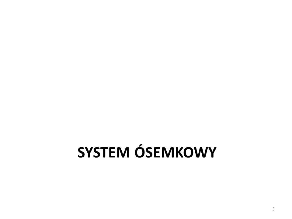 System ósemkowy Ósemkowy system zapisu posiada 8 cyfr do zapisu liczb: 0, 1, 2, 3, 4, 5, 6, 7 Kiedy cyfra ma być większa niż 7 zmieniamy wartość tej i następnej pozycji.