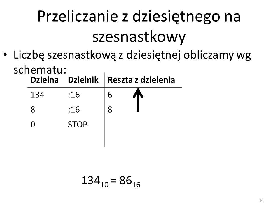 Przeliczanie z dziesiętnego na szesnastkowy Liczbę szesnastkową z dziesiętnej obliczamy wg schematu: DzielnaDzielnikReszta z dzielenia 134:166 8 8 0ST