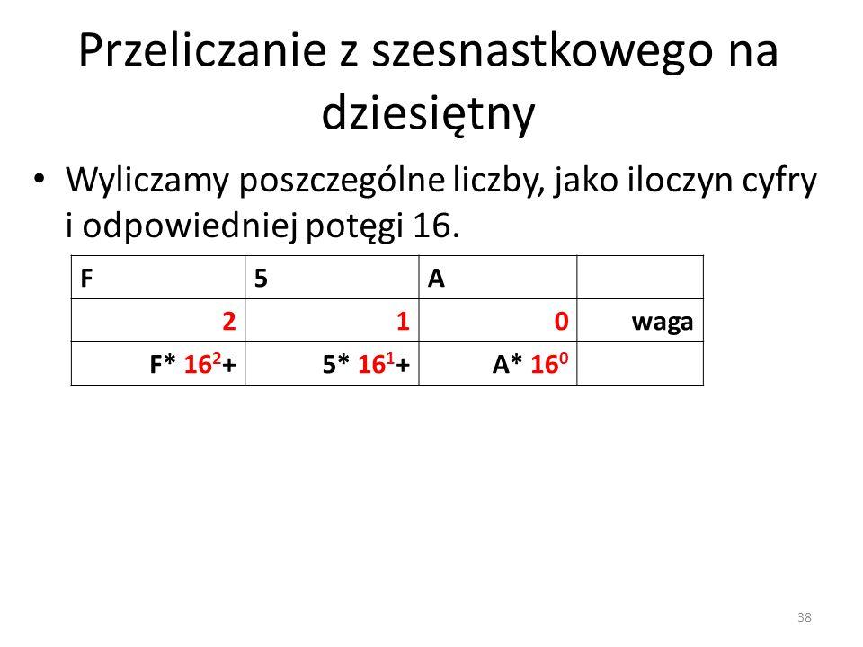 F5A 210waga F* 16 2 +5* 16 1 +A* 16 0 Wyliczamy poszczególne liczby, jako iloczyn cyfry i odpowiedniej potęgi 16. Przeliczanie z szesnastkowego na dzi