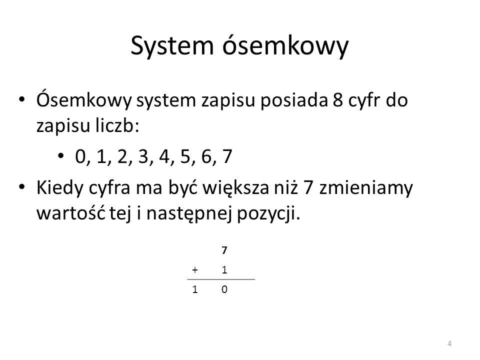 System ósemkowy Ósemkowy system zapisu posiada 8 cyfr do zapisu liczb: 0, 1, 2, 3, 4, 5, 6, 7 Kiedy cyfra ma być większa niż 7 zmieniamy wartość tej i
