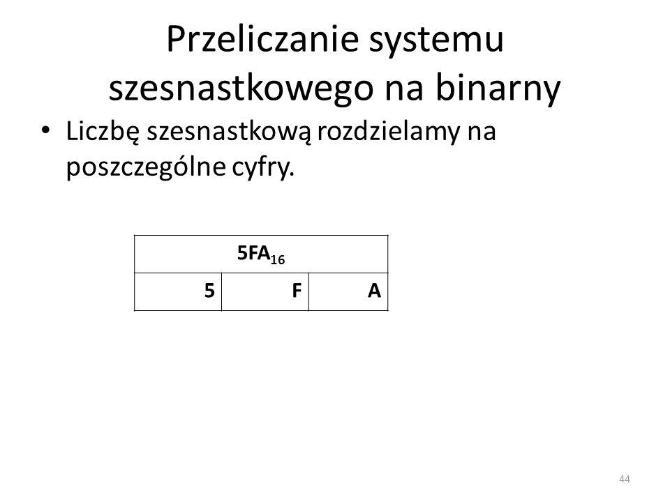 Przeliczanie systemu szesnastkowego na binarny Liczbę szesnastkową rozdzielamy na poszczególne cyfry. 44 5FA 16 5FA
