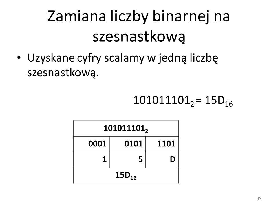 Zamiana liczby binarnej na szesnastkową Uzyskane cyfry scalamy w jedną liczbę szesnastkową. 49 101011101 2 000101011101 15D 15D 16 101011101 2 = 15D 1
