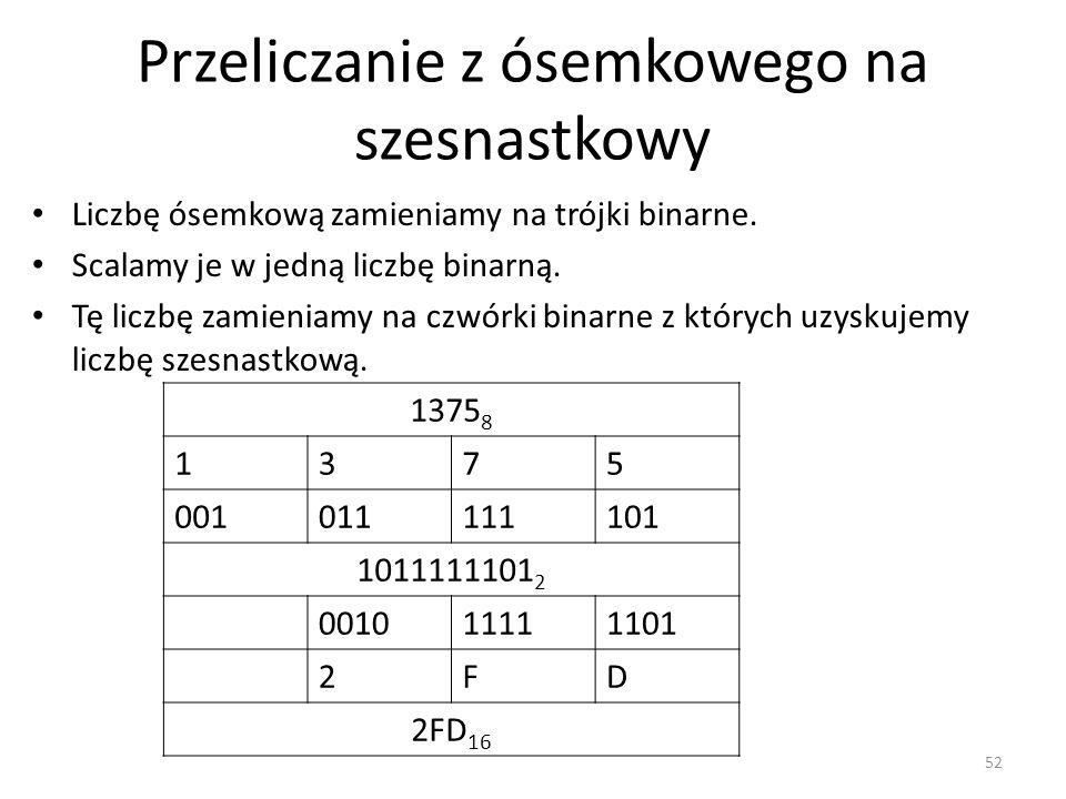 Przeliczanie z ósemkowego na szesnastkowy 52 1375 8 1375 001011111101 1011111101 2 001011111101 2FD 2FD 16 Liczbę ósemkową zamieniamy na trójki binarn