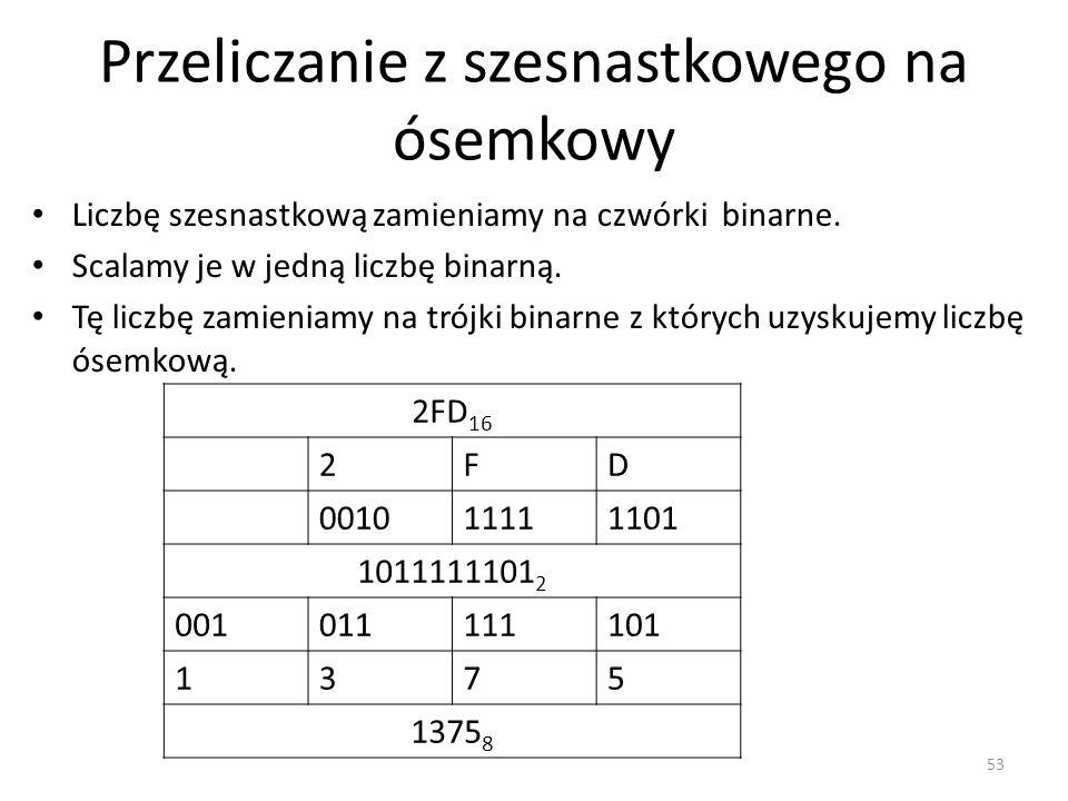 Przeliczanie z szesnastkowego na ósemkowy 53 2FD 16 2FD 001011111101 1011111101 2 001011111101 1375 1375 8 Liczbę szesnastkową zamieniamy na czwórki b