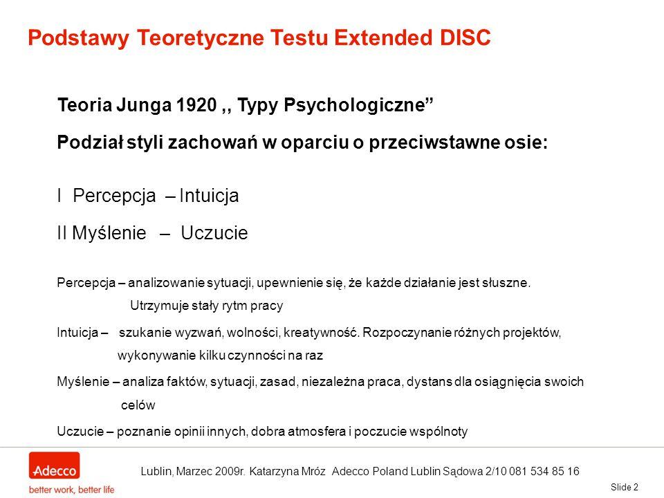 """Slide 2 Podstawy Teoretyczne Testu Extended DISC Teoria Junga 1920,, Typy Psychologiczne"""" Podział styli zachowań w oparciu o przeciwstawne osie: I Per"""