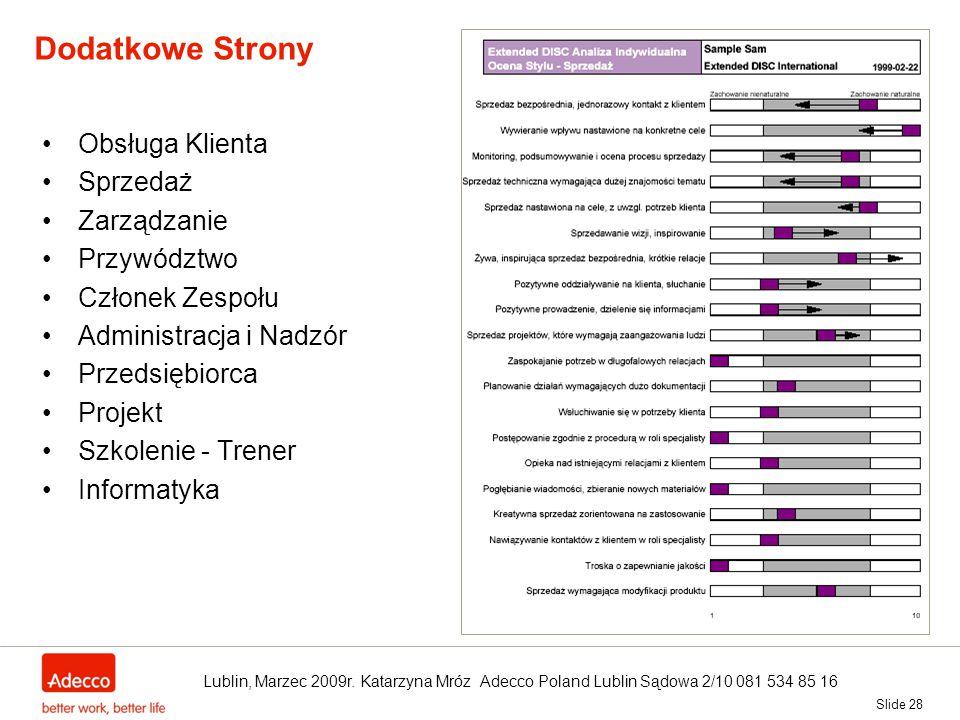 Slide 28 Dodatkowe Strony Obsługa Klienta Sprzedaż Zarządzanie Przywództwo Członek Zespołu Administracja i Nadzór Przedsiębiorca Projekt Szkolenie - T
