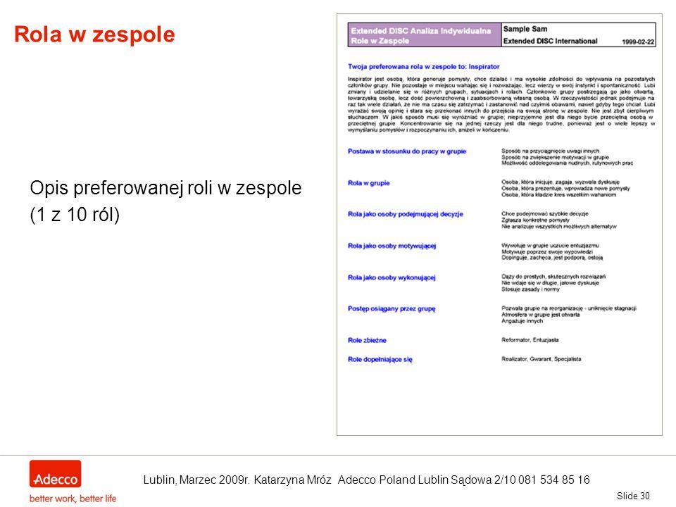 Slide 30 Rola w zespole Opis preferowanej roli w zespole (1 z 10 ról) Lublin, Marzec 2009r. Katarzyna Mróz Adecco Poland Lublin Sądowa 2/10 081 534 85