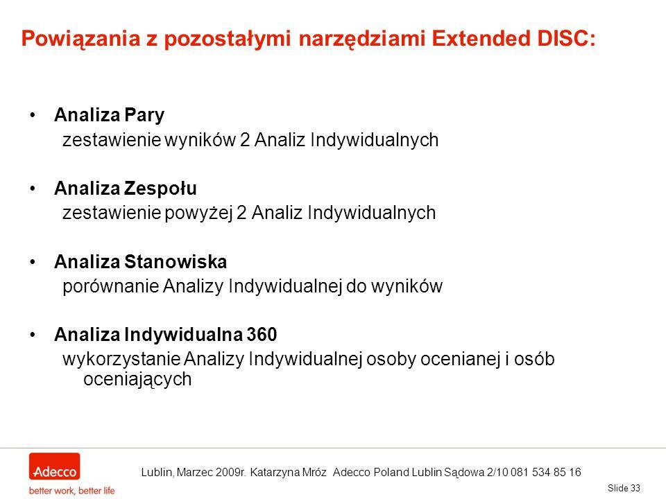 Slide 33 Powiązania z pozostałymi narzędziami Extended DISC: Analiza Pary zestawienie wyników 2 Analiz Indywidualnych Analiza Zespołu zestawienie powy