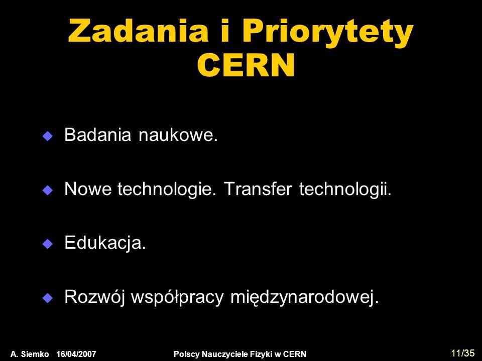 A. Siemko 16/04/2007 Polscy Nauczyciele Fizyki w CERN 11/35 Zadania i Priorytety CERN  Badania naukowe.  Nowe technologie. Transfer technologii.  E