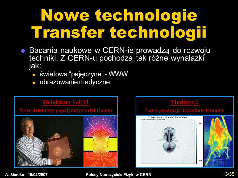 A. Siemko 16/04/2007 Polscy Nauczyciele Fizyki w CERN 13/35 Nowe technologie Transfer technologii  Badania naukowe w CERN-ie prowadzą do rozwoju tech