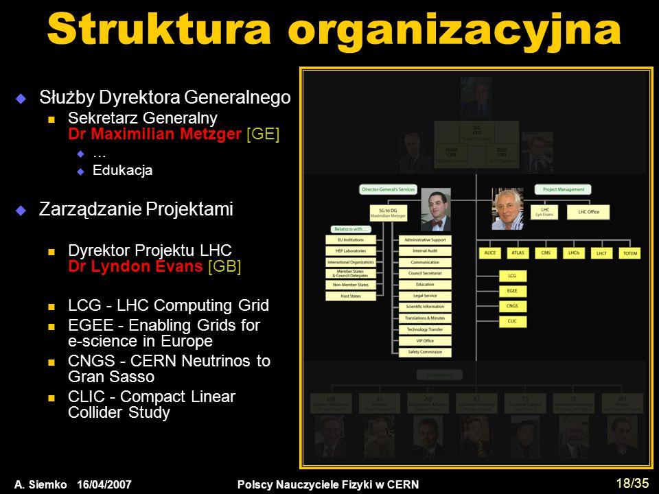 A. Siemko 16/04/2007 Polscy Nauczyciele Fizyki w CERN 18/35 Struktura organizacyjna  Służby Dyrektora Generalnego Sekretarz Generalny Dr Maximilian M