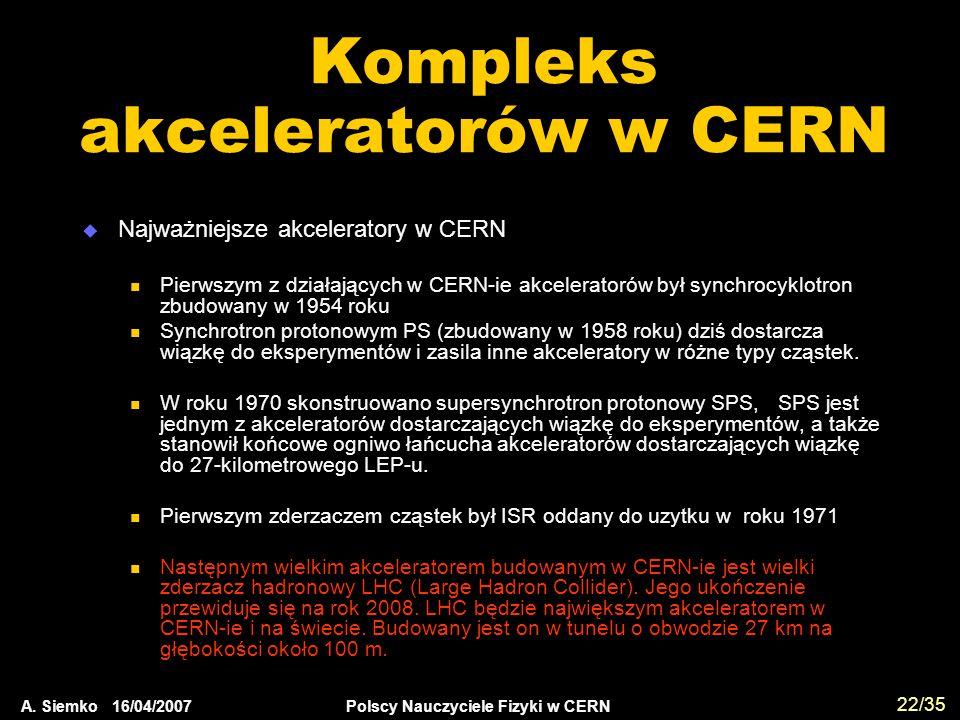 A. Siemko 16/04/2007 Polscy Nauczyciele Fizyki w CERN 22/35 Kompleks akceleratorów w CERN  Najważniejsze akceleratory w CERN Pierwszym z działających