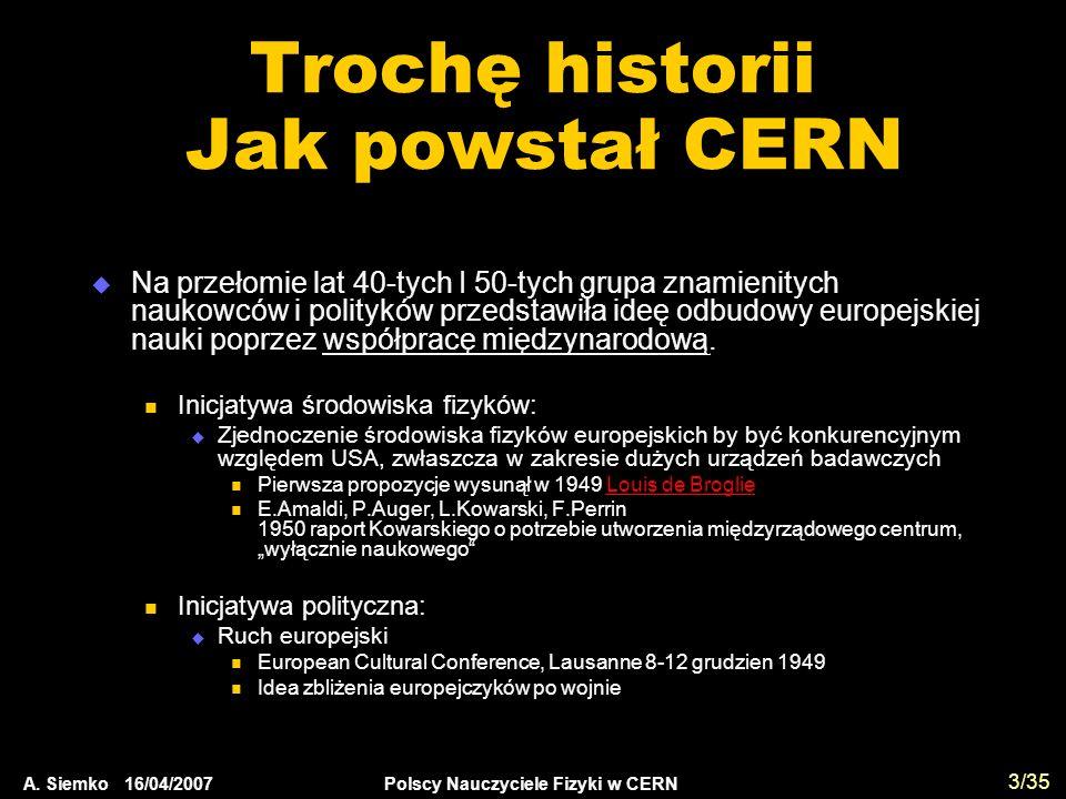 A. Siemko 16/04/2007 Polscy Nauczyciele Fizyki w CERN 3/35 Trochę historii Jak powstał CERN  Na przełomie lat 40-tych I 50-tych grupa znamienitych na