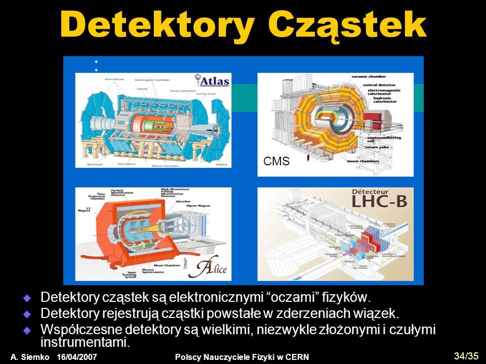 """A. Siemko 16/04/2007 Polscy Nauczyciele Fizyki w CERN 34/35 Detektory Cząstek  Detektory cząstek są elektronicznymi """"oczami"""" fizyków.  Detektory rej"""