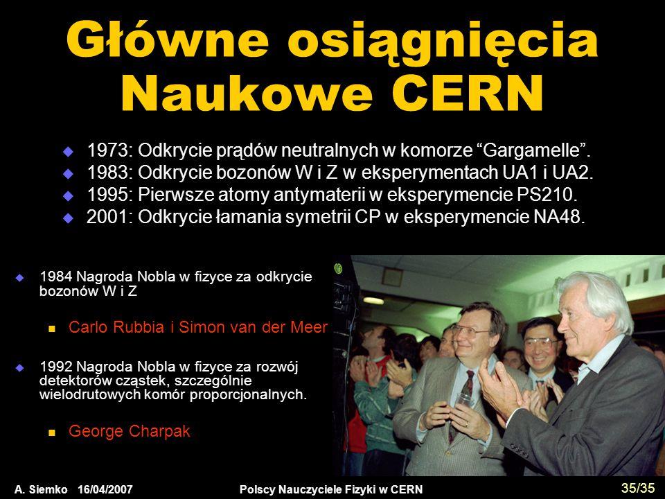 """A. Siemko 16/04/2007 Polscy Nauczyciele Fizyki w CERN 35/35 Główne osiągnięcia Naukowe CERN  1973: Odkrycie prądów neutralnych w komorze """"Gargamelle"""""""