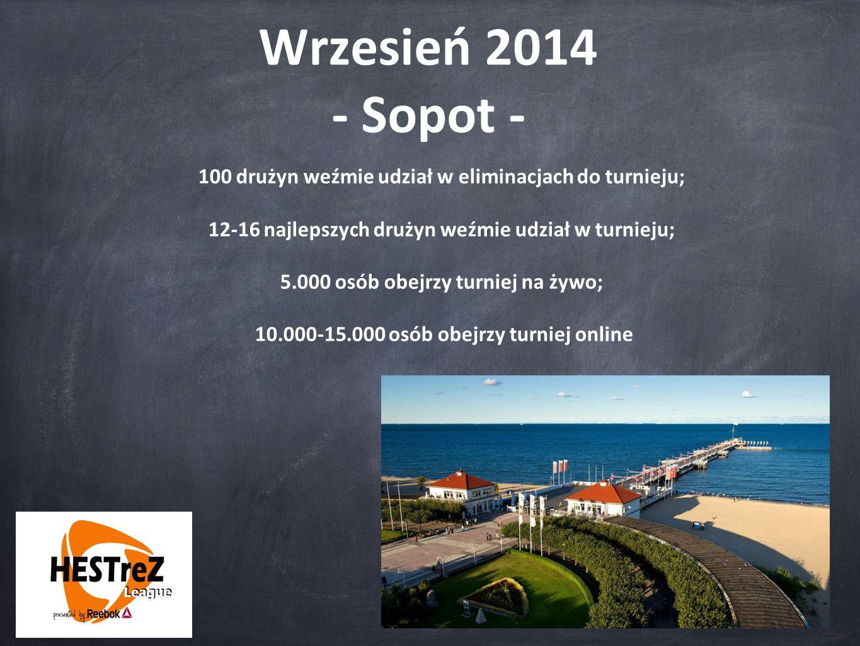 Wrzesień 2014 - Sopot - 100 drużyn weźmie udział w eliminacjach do turnieju; 12-16 najlepszych drużyn weźmie udział w turnieju; 5.000 osób obejrzy tur