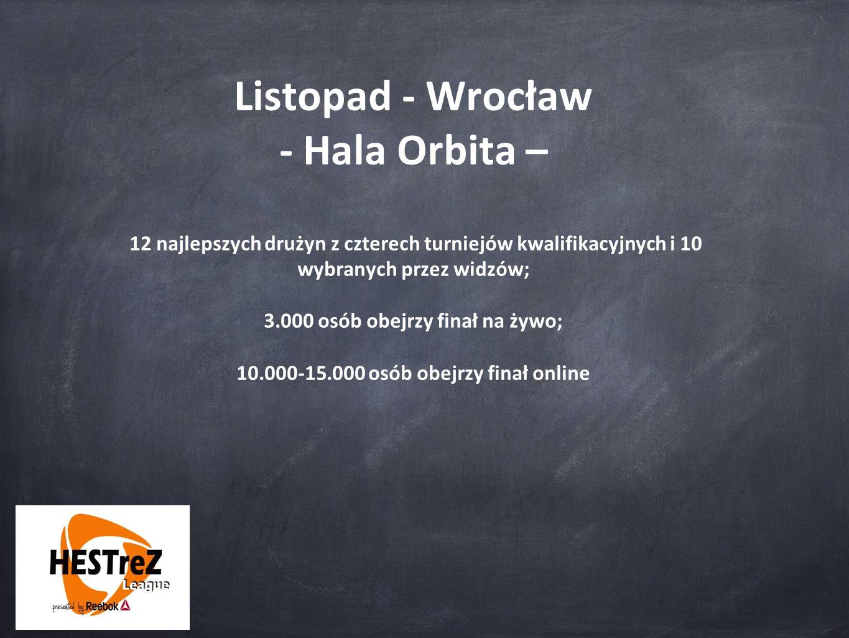 Listopad - Wrocław - Hala Orbita – 12 najlepszych drużyn z czterech turniejów kwalifikacyjnych i 10 wybranych przez widzów; 3.000 osób obejrzy finał na żywo; 10.000-15.000 osób obejrzy finał online