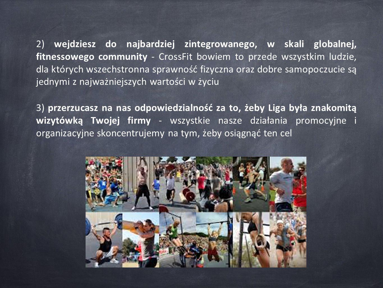2) wejdziesz do najbardziej zintegrowanego, w skali globalnej, fitnessowego community - CrossFit bowiem to przede wszystkim ludzie, dla których wszechstronna sprawność fizyczna oraz dobre samopoczucie są jednymi z najważniejszych wartości w życiu 3) przerzucasz na nas odpowiedzialność za to, żeby Liga była znakomitą wizytówką Twojej firmy - wszystkie nasze działania promocyjne i organizacyjne skoncentrujemy na tym, żeby osiągnąć ten cel