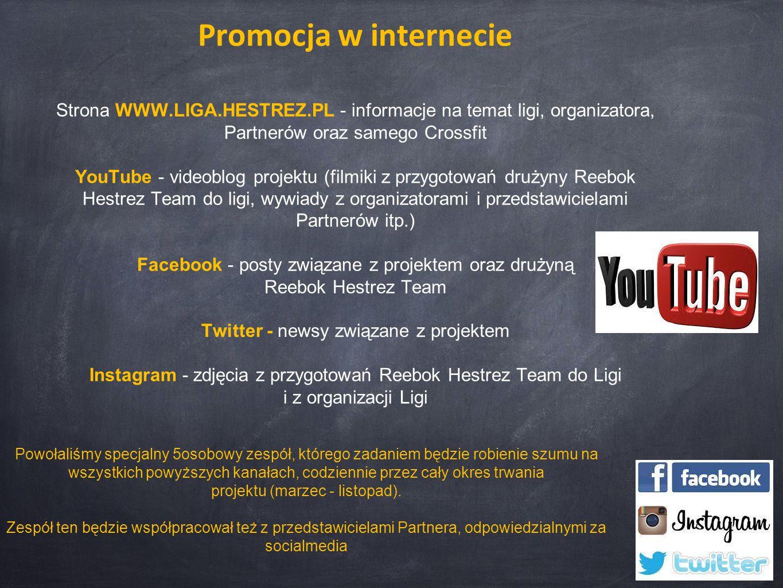 Promocja w internecie Strona WWW.LIGA.HESTREZ.PL - informacje na temat ligi, organizatora, Partnerów oraz samego Crossfit YouTube - videoblog projektu