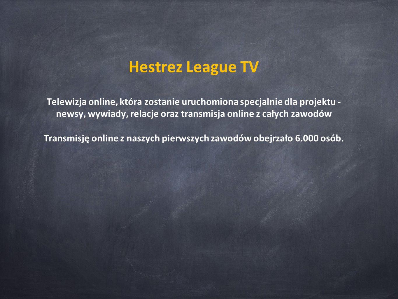 Hestrez League TV Telewizja online, która zostanie uruchomiona specjalnie dla projektu - newsy, wywiady, relacje oraz transmisja online z całych zawodów Transmisję online z naszych pierwszych zawodów obejrzało 6.000 osób.