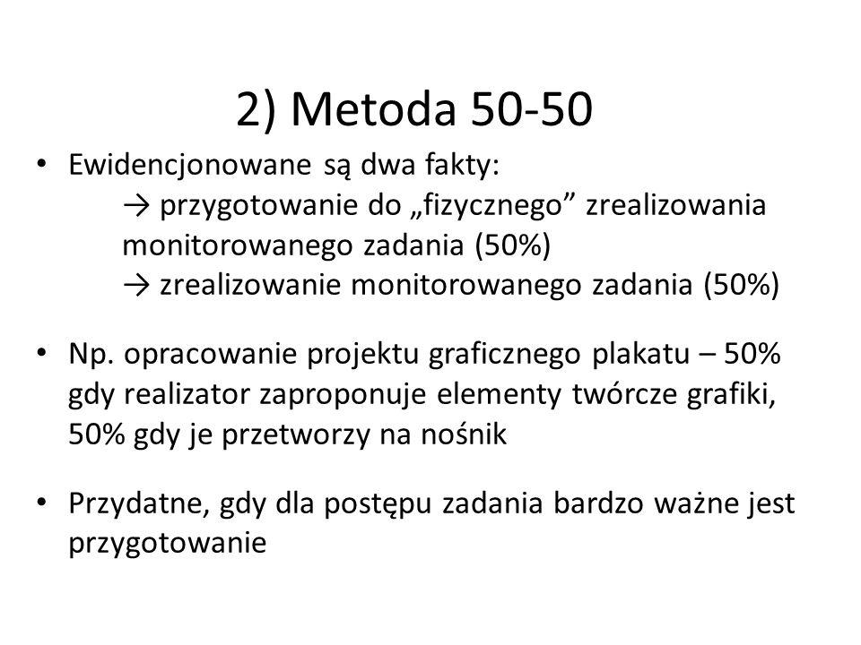 """2) Metoda 50-50 Ewidencjonowane są dwa fakty: → przygotowanie do """"fizycznego zrealizowania monitorowanego zadania (50%) → zrealizowanie monitorowanego zadania (50%) Np."""