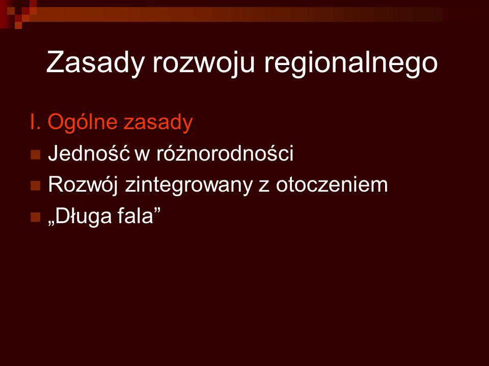 """Zasady rozwoju regionalnego I. Ogólne zasady Jedność w różnorodności Rozwój zintegrowany z otoczeniem """"Długa fala"""""""
