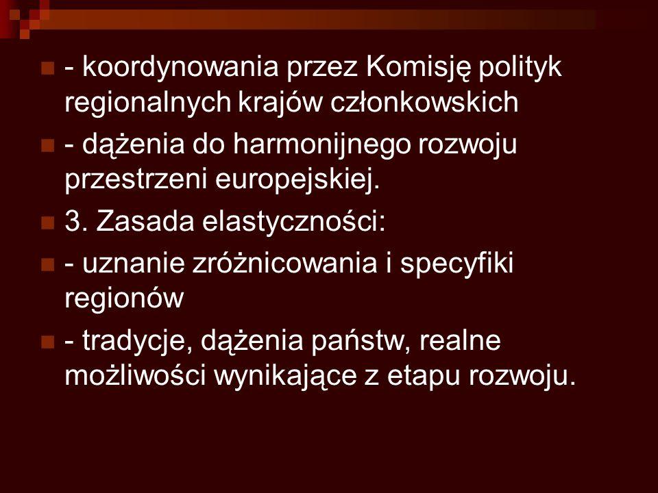 - koordynowania przez Komisję polityk regionalnych krajów członkowskich - dążenia do harmonijnego rozwoju przestrzeni europejskiej. 3. Zasada elastycz