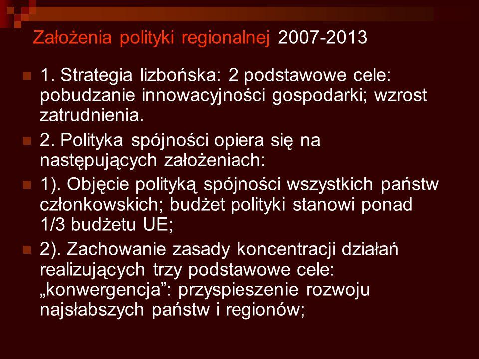 Założenia polityki regionalnej 2007-2013 1. Strategia lizbońska: 2 podstawowe cele: pobudzanie innowacyjności gospodarki; wzrost zatrudnienia. 2. Poli