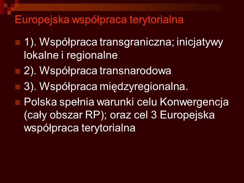 Europejska współpraca terytorialna 1). Współpraca transgraniczna; inicjatywy lokalne i regionalne 2). Współpraca transnarodowa 3). Współpraca międzyre