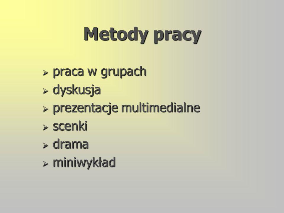 Metody pracy  praca w grupach  dyskusja  prezentacje multimedialne  scenki  drama  miniwykład