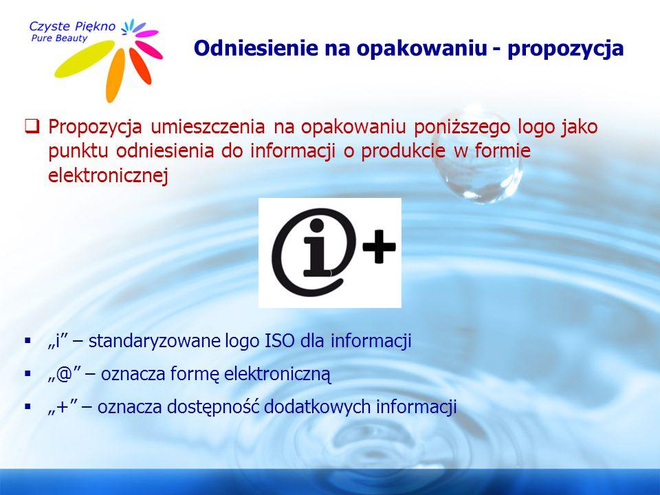 www.czystepiekno.pl Odniesienie na opakowaniu - propozycja  Propozycja umieszczenia na opakowaniu poniższego logo jako punktu odniesienia do informac