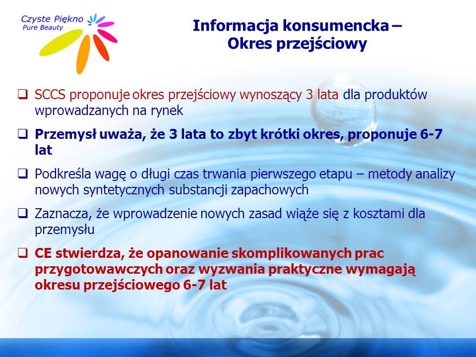 www.czystepiekno.pl Informacja konsumencka – Okres przejściowy  SCCS proponuje okres przejściowy wynoszący 3 lata dla produktów wprowadzanych na ryne
