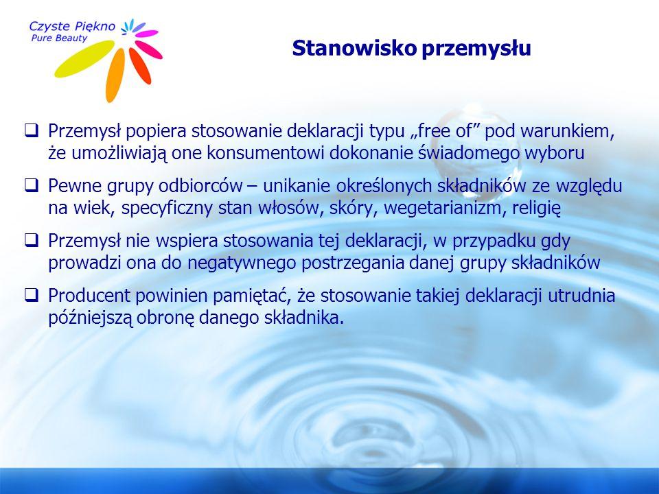 """www.czystepiekno.pl Stanowisko przemysłu  Przemysł popiera stosowanie deklaracji typu """"free of"""" pod warunkiem, że umożliwiają one konsumentowi dokona"""
