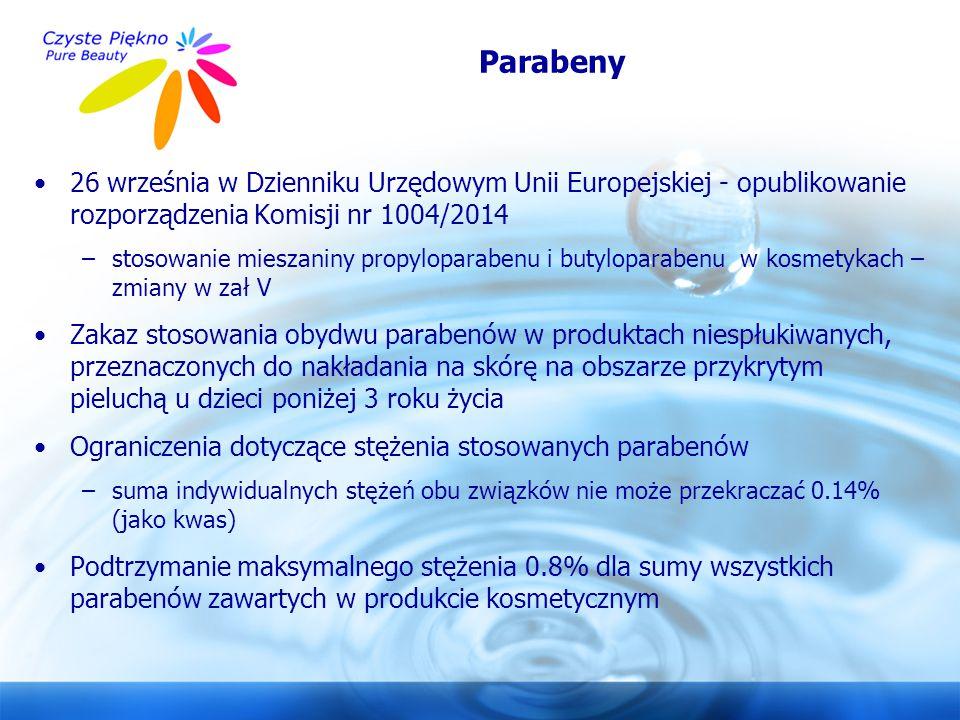 www.czystepiekno.pl Parabeny 26 września w Dzienniku Urzędowym Unii Europejskiej - opublikowanie rozporządzenia Komisji nr 1004/2014 –stosowanie miesz