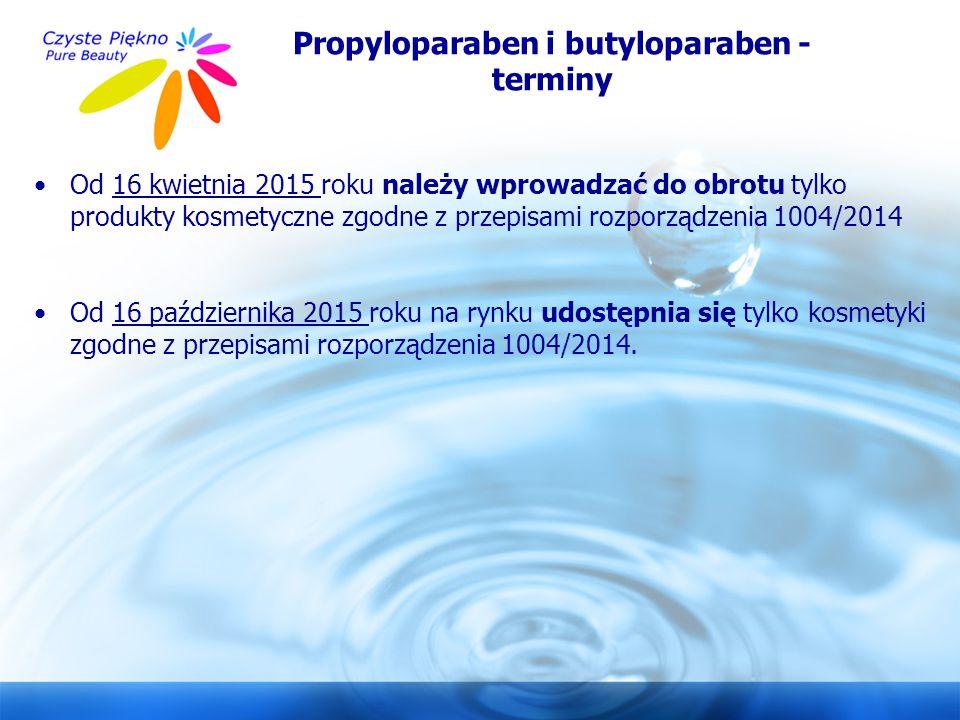www.czystepiekno.pl Propyloparaben i butyloparaben - terminy Od 16 kwietnia 2015 roku należy wprowadzać do obrotu tylko produkty kosmetyczne zgodne z